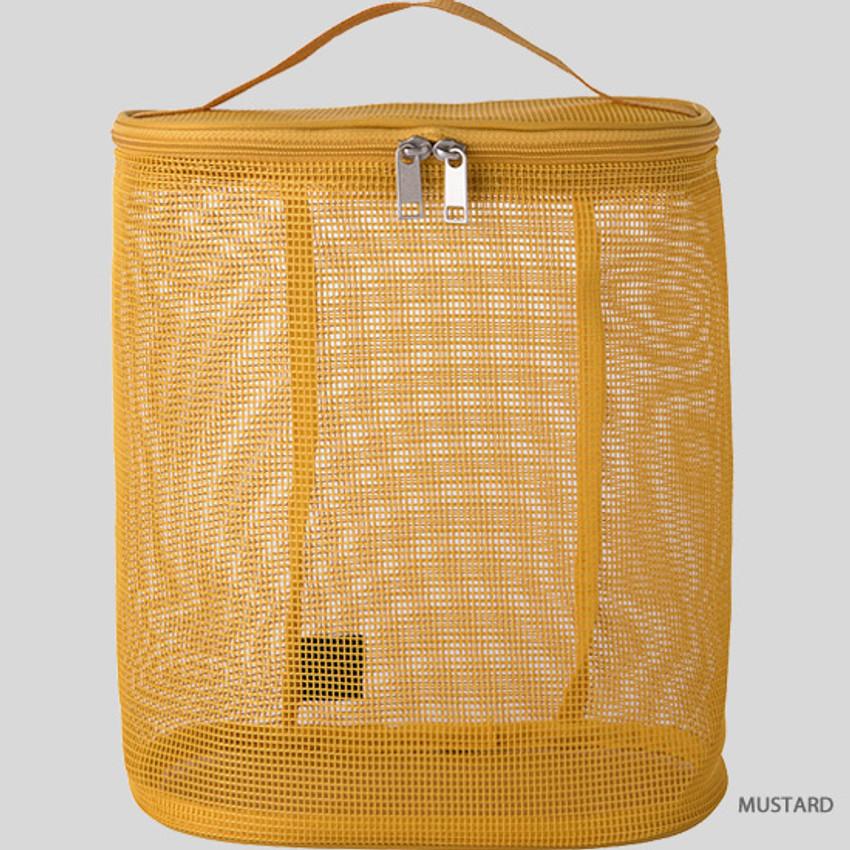 Mustard - Livework A low hill spa mesh travel zipper tote bag