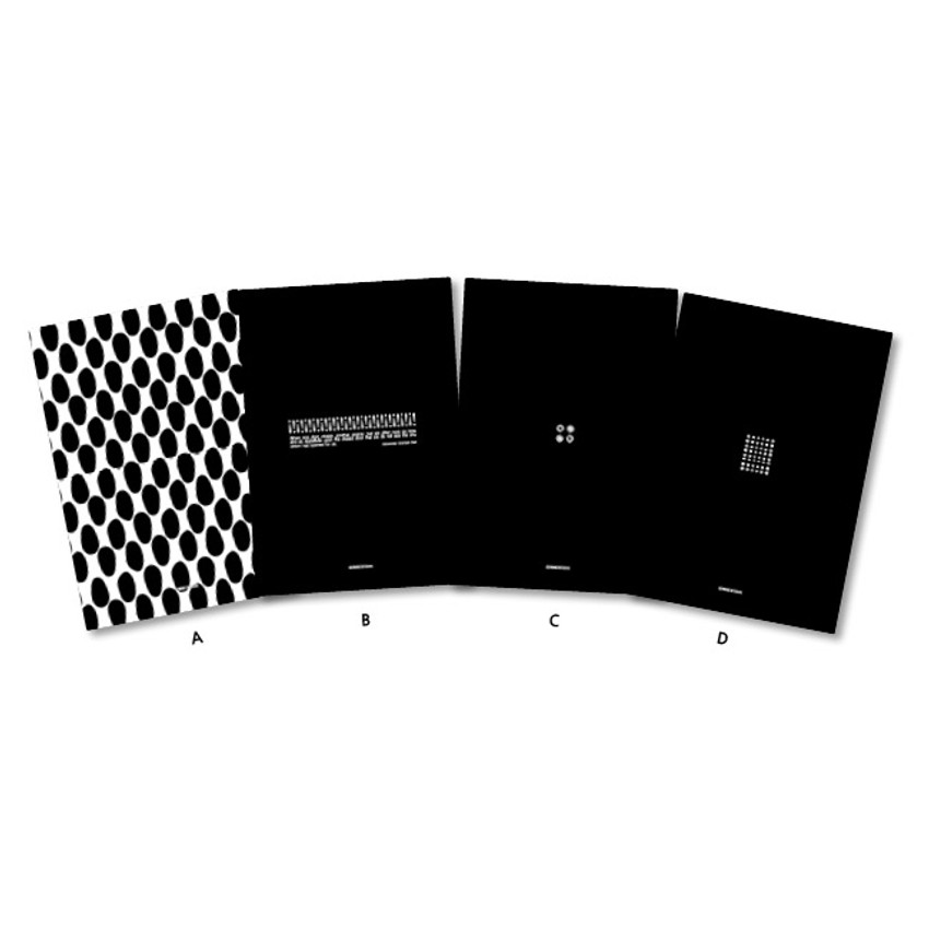 Back cover - Black and white pattern A5 grid blank notebook