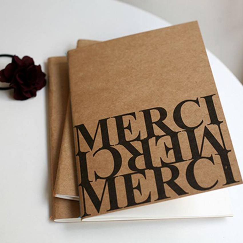 Inndesign Merci Kraft cover A5 blank notebook