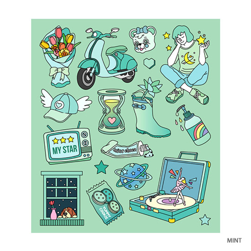 Mint - Pop illustration colorful point paper deco sticker ver2