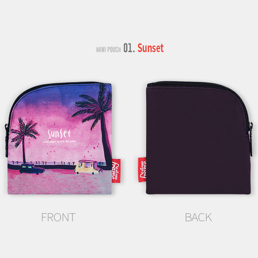Sunset - All new frame Myeongmi Choi E collection mini zipper pouch