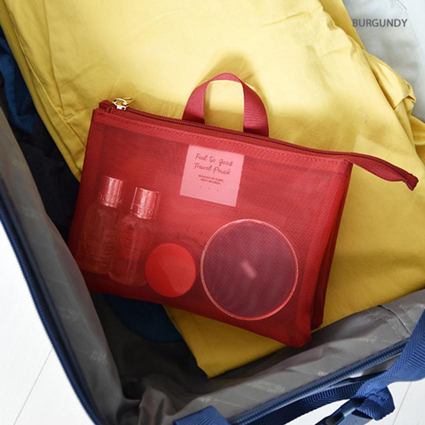 Burgundy - Play Obje Feel so good 3 pockets travel mesh zipper pouch