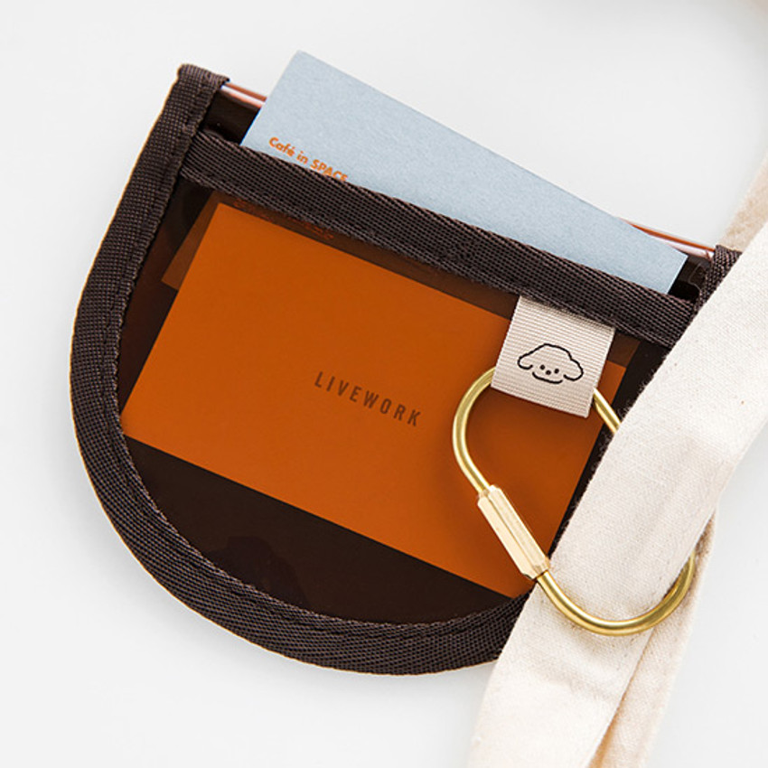 Example of use - Livework Coi clear PVC snap button card case wallet