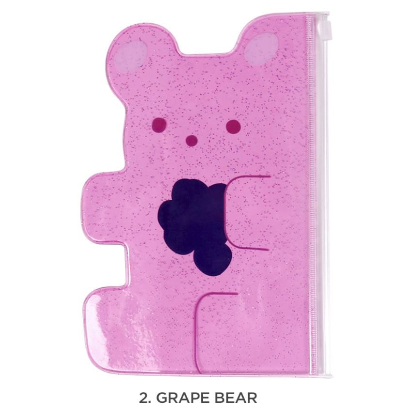 Grape bear - Jelly bear medium clear zip lock pouch