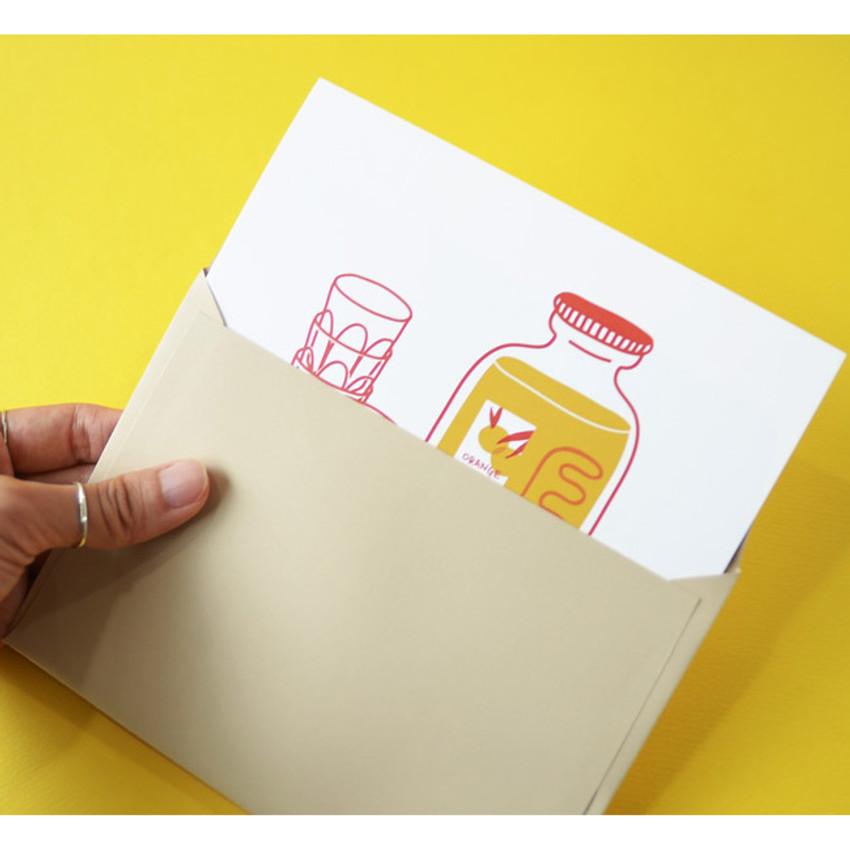 Envelope - Jam Studio Orange juice message card with envelope