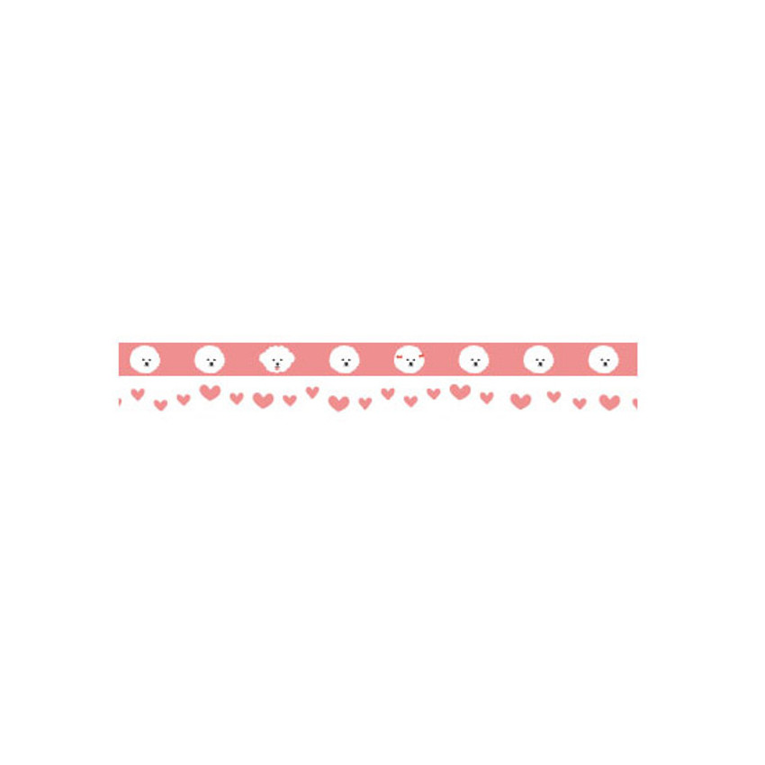 Detail of Dailylike Bichon Frise slim masking tape set