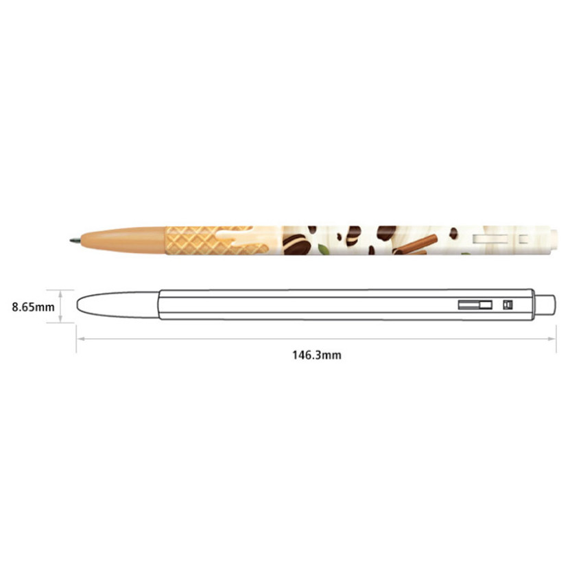Detail of MONAMI 153 icecream knock retractable ballpoint pen set