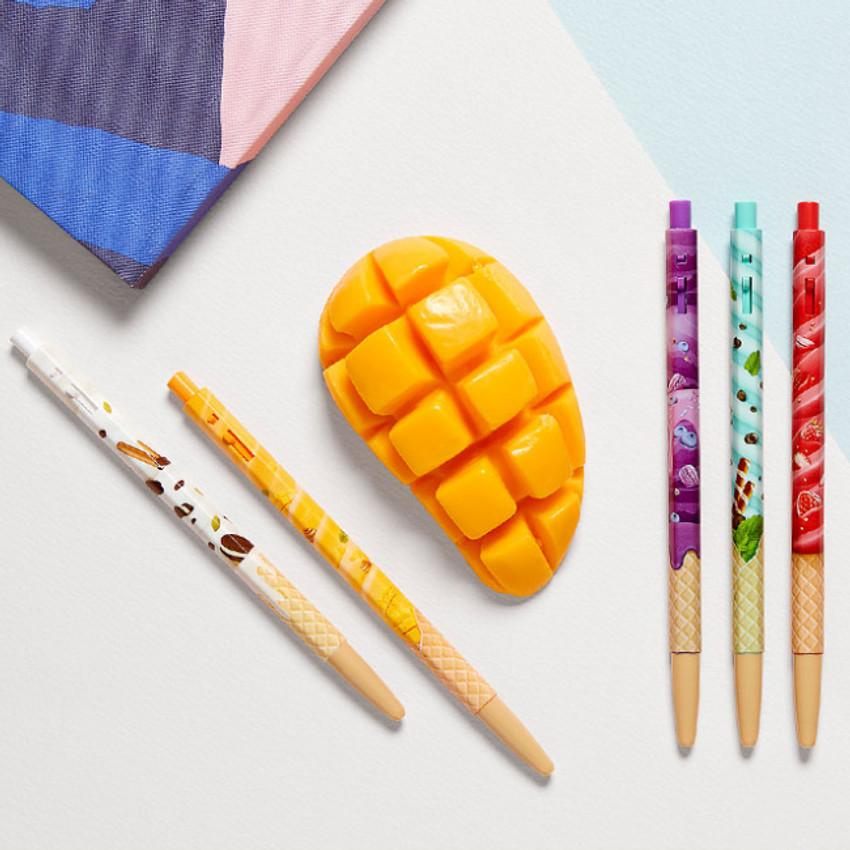 MONAMI 153 icecream knock retractable ballpoint pen set