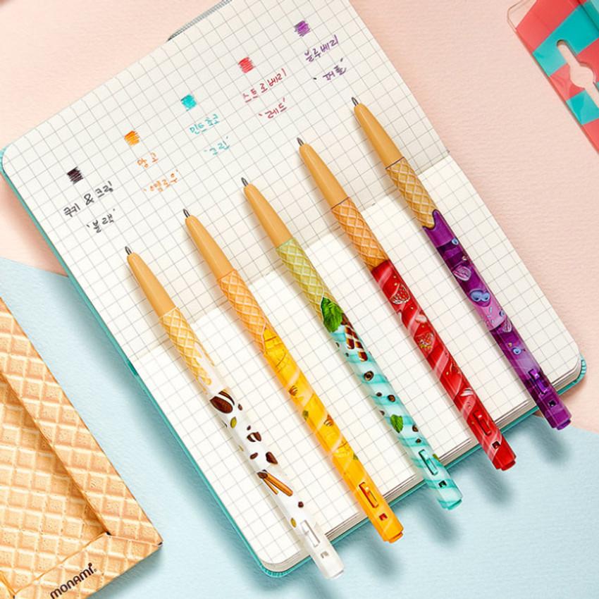Color - MONAMI 153 icecream knock retractable ballpoint pen set