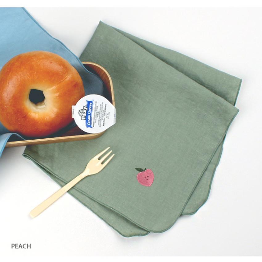 Peach - Wanna This Tailorbird cute embroidered hankie handkerchief ver4