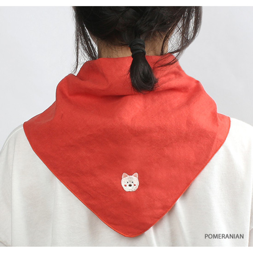 Pomeranian - Wanna This Tailorbird cute embroidered hankie handkerchief ver4