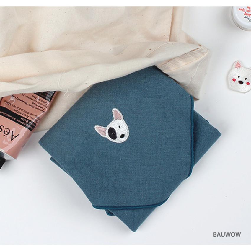 Bauwow - Wanna This Tailorbird cute embroidered hankie handkerchief ver4