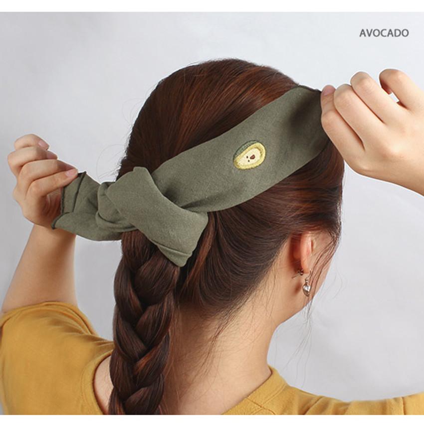 Avocado - Wanna This Tailorbird cute embroidered hankie handkerchief ver4