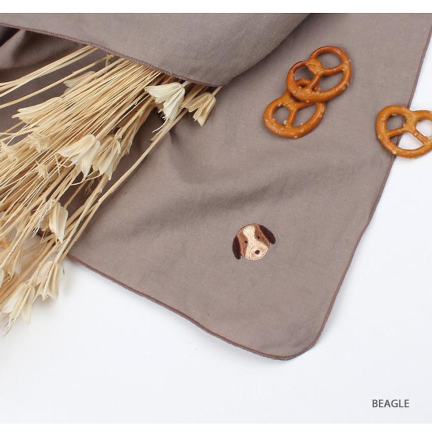Beagle - Wanna This Tailorbird cute embroidered hankie handkerchief ver4