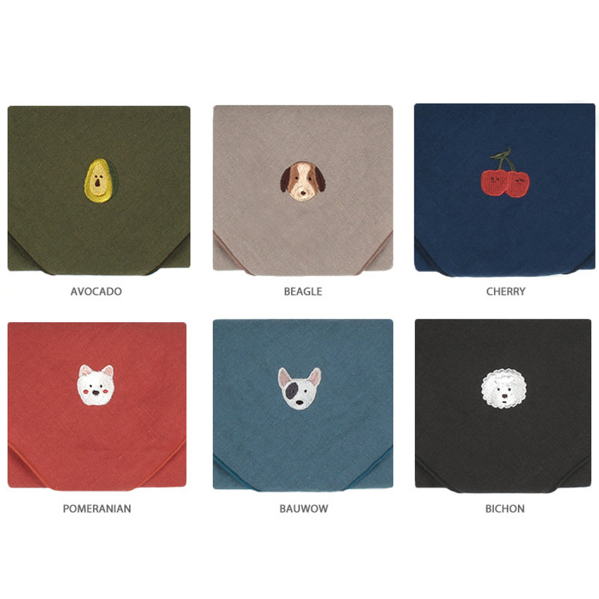 Option - Wanna This Tailorbird cute embroidered hankie handkerchief ver4