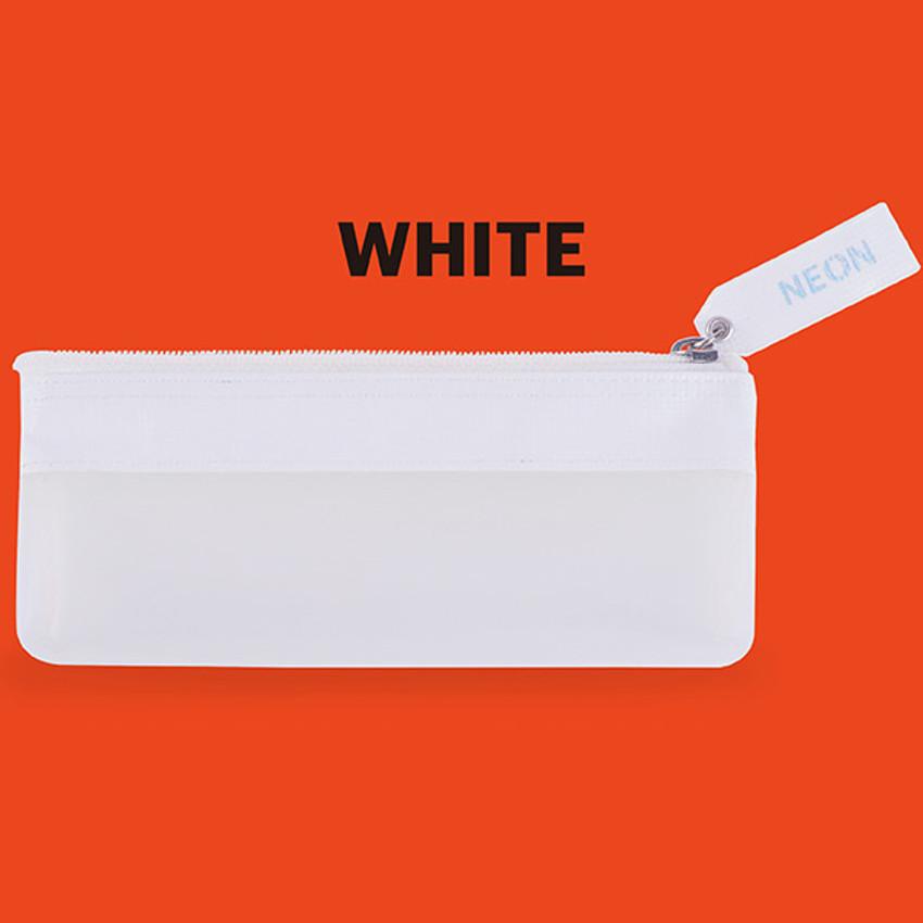 White - Rihoon Neon laundry translucent zipper pencil case