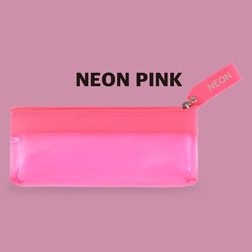 Neon pink - Rihoon Neon laundry translucent zipper pencil case
