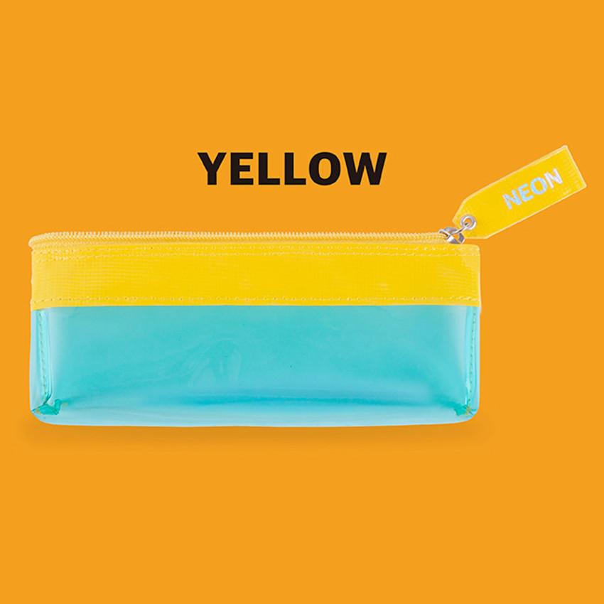 Yellow - Rihoon Neon laundry translucent zipper pencil case