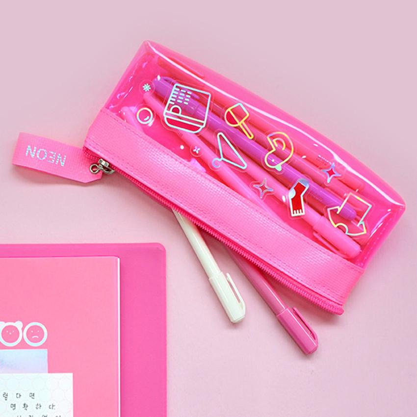 Example of use - Rihoon Neon laundry translucent zipper pencil case