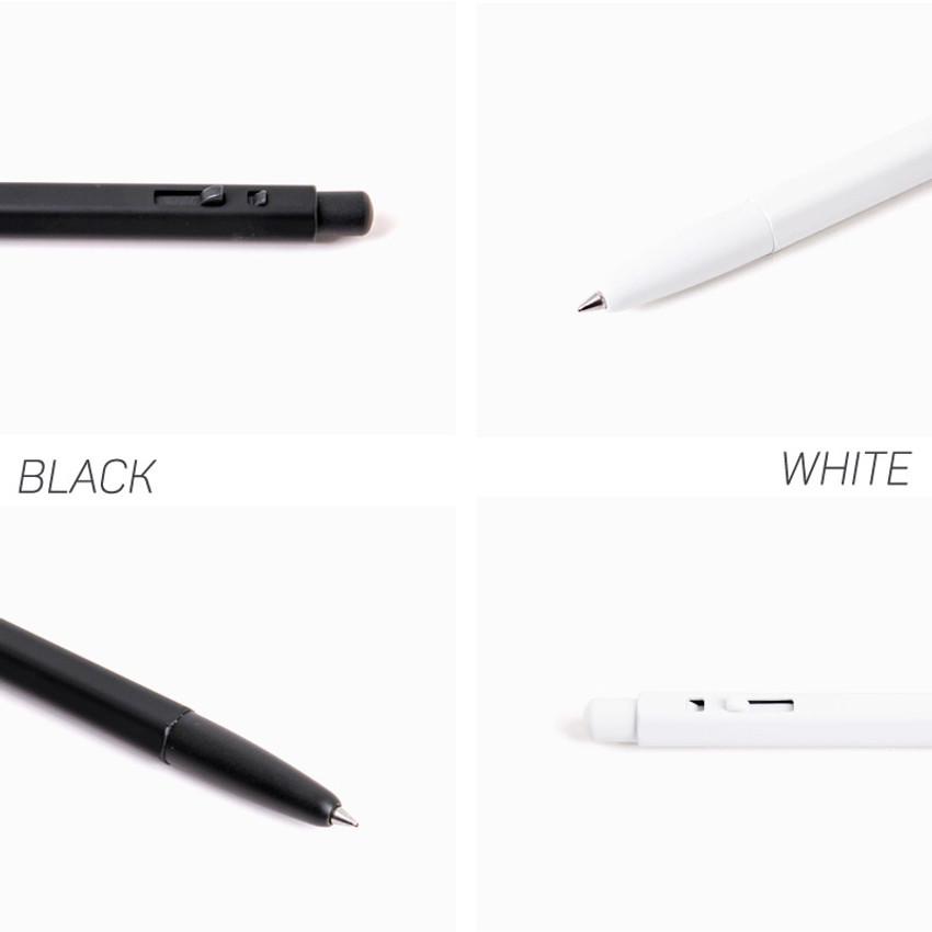 Detail of MONAMI 153 black and white knock retractable ballpoint pen