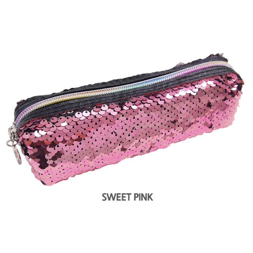 Sweet pink - 2young Shiny spangle zipper pencil case pouch
