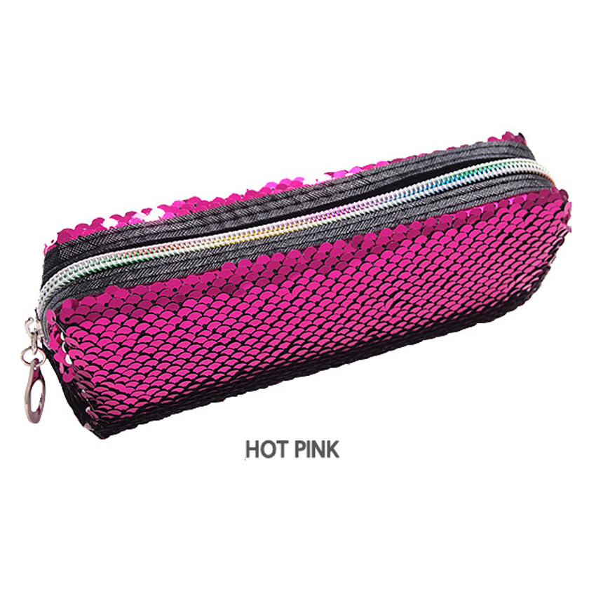 Hot pink - 2young Shiny spangle zipper pencil case pouch