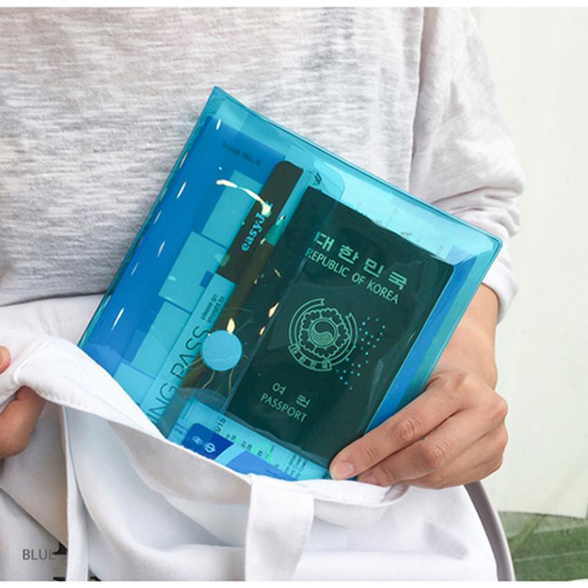 Blue - Seeso Neon A5 clear file folder pouch