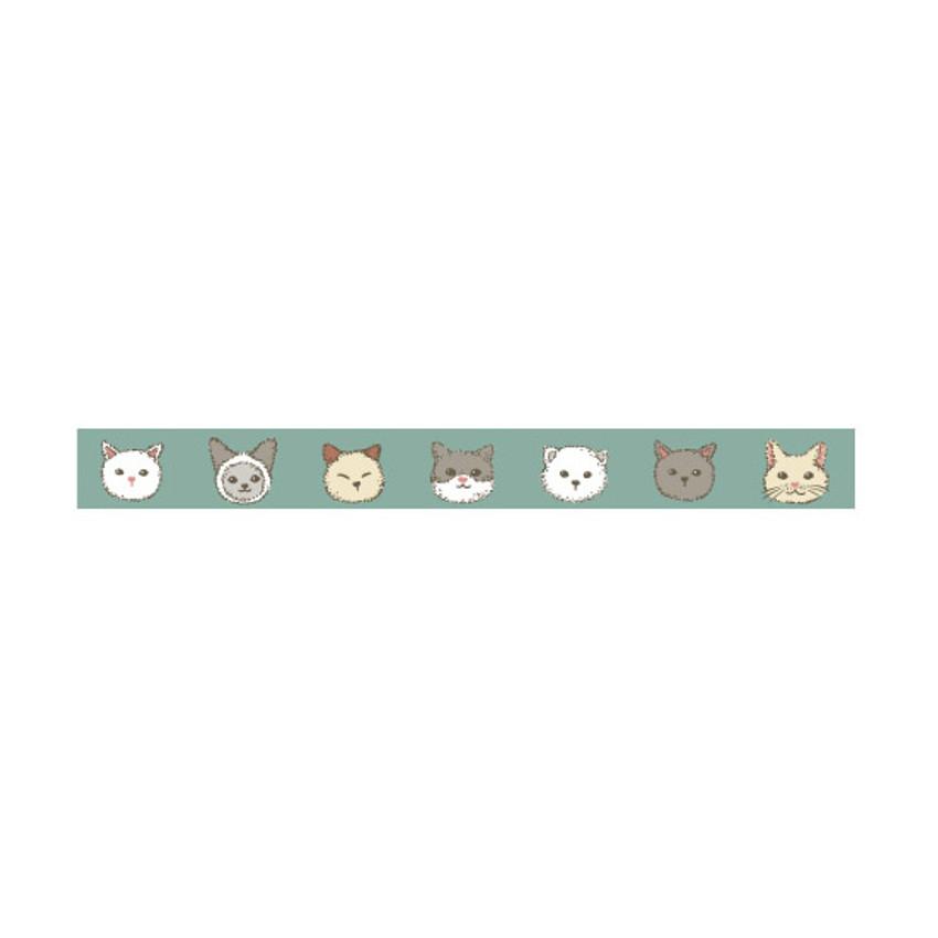 Detail of Dailylike Friendly kitty single roll paper masking tape