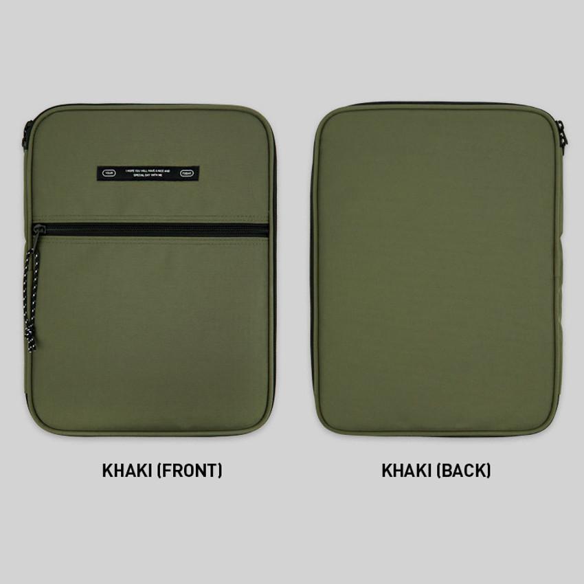 Khaki - BNTP Today tablet PC iPad zipper multi pouch
