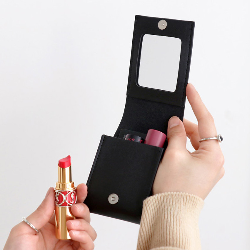 Black - ICONIC Slit lipstick cosmetic pouch case with mirror