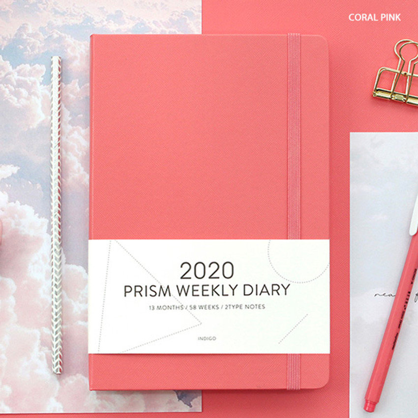 Coral pink - Indigo 2020 Prism dated weekly planner notebook