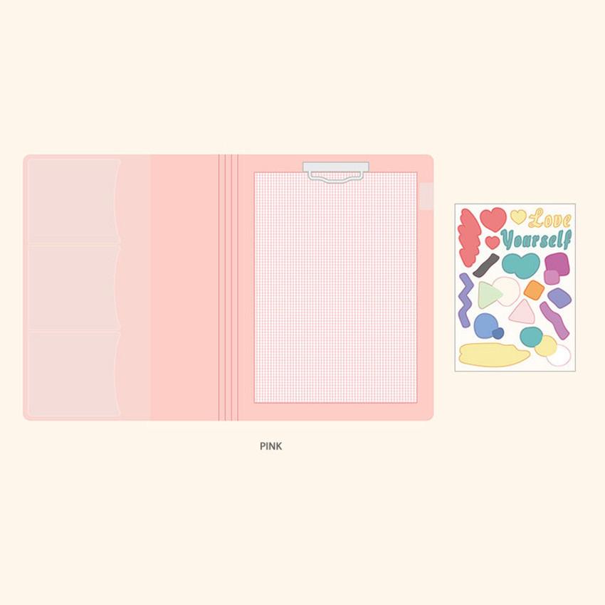 Pink - PLEPLE Memo days A5 size foldover clipboard set