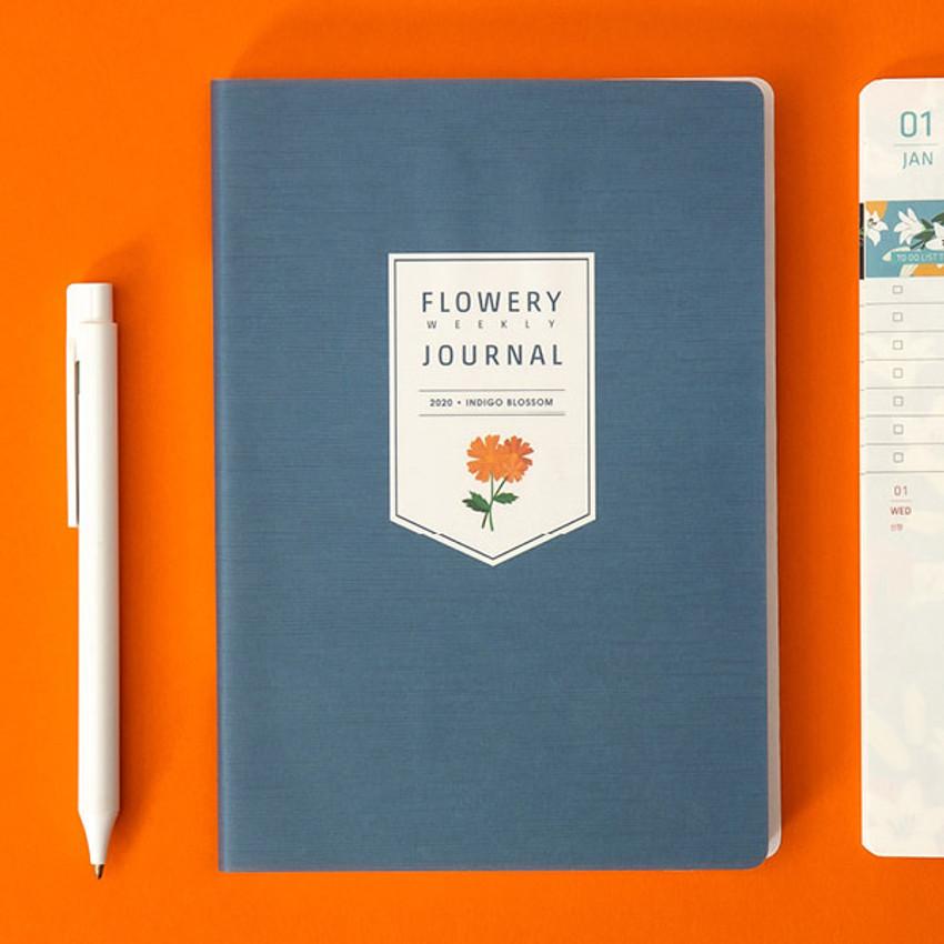 Indigo blossom - Ardium 2020 Flowery dated weekly journal planner