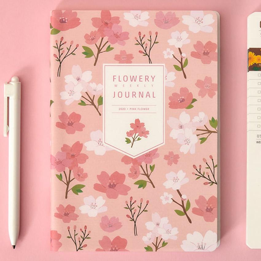 Pink flower - Ardium 2020 Flowery dated weekly journal planner