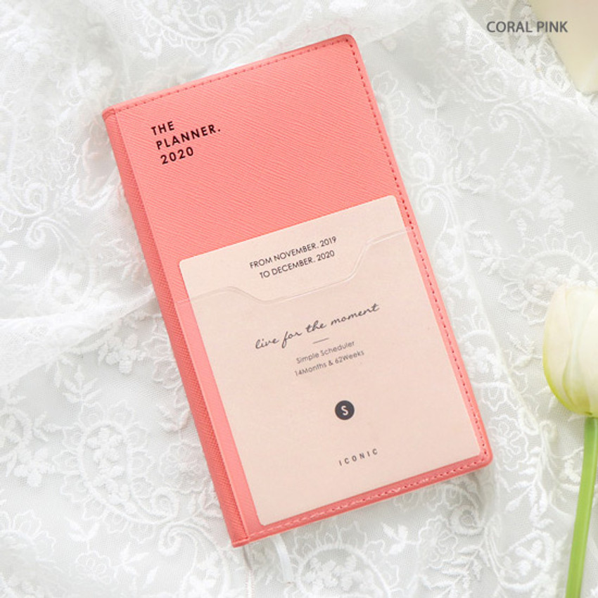 Coral pink - ICONIC 2020 Simple small dated weekly planner scheduler