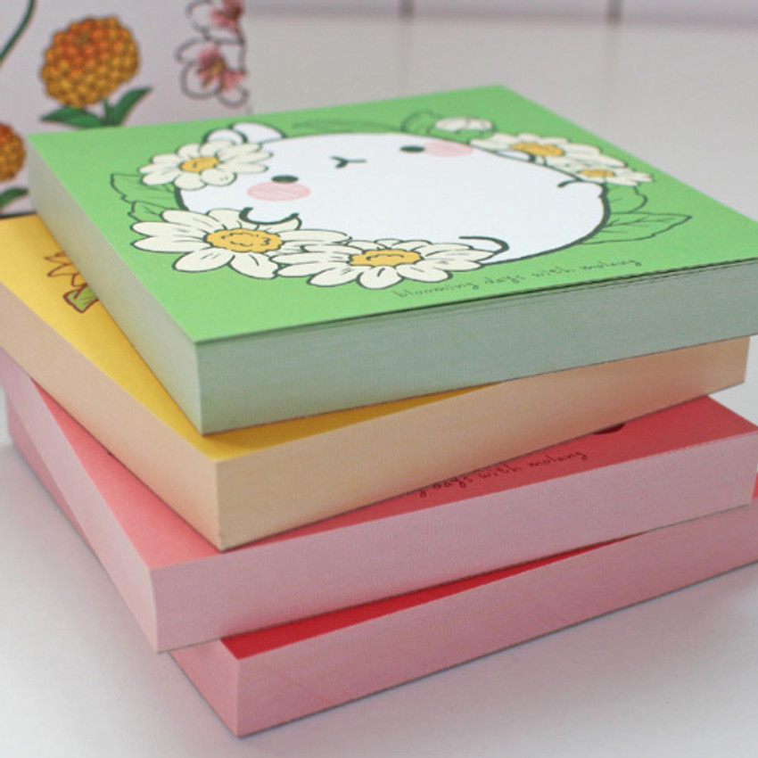100 sheets - Bookcodi Blooming day with Molang cute memo notepad
