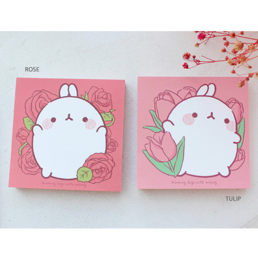 Rose, Tulip - Bookcodi Blooming day with Molang cute memo notepad