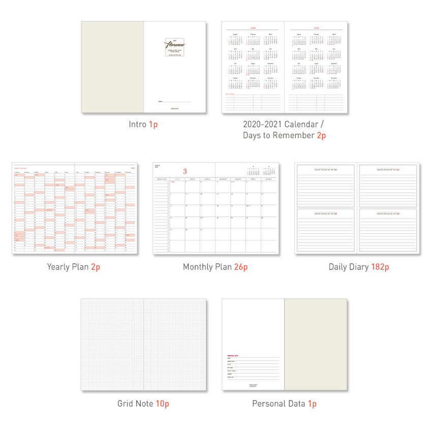 Diary section - PAPERIAN 2020 Florence hardcover daily agenda planner
