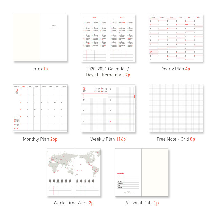 Planner section - PAPERIAN 2020 Edit small dated weekly planner scheduler
