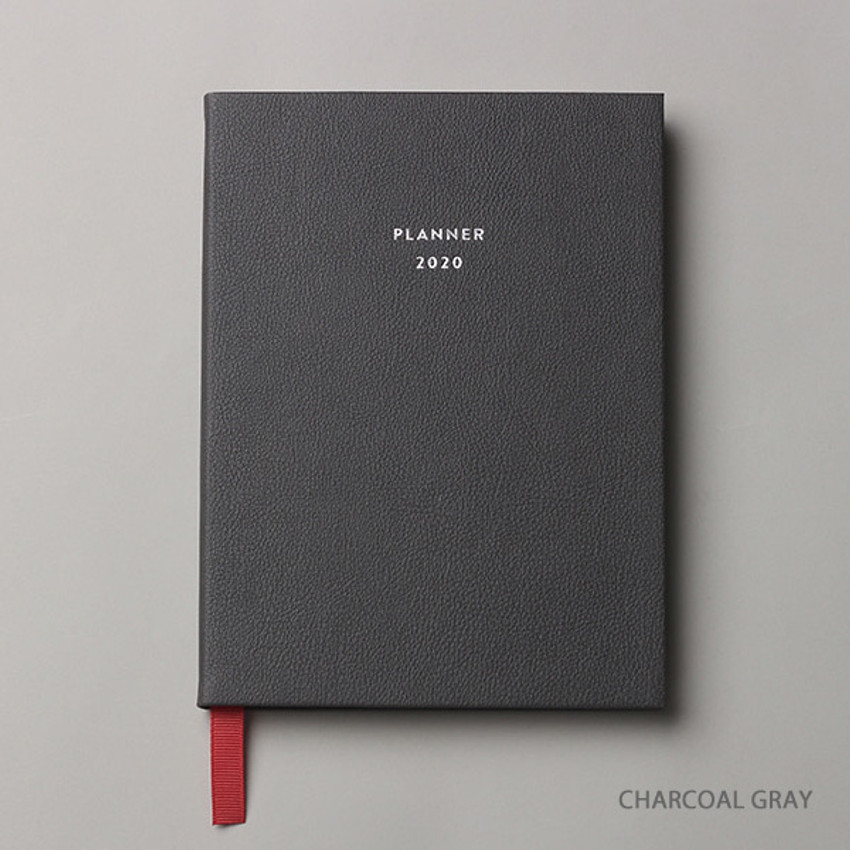 Charcoal gray - Dash And Dot 2020 Pro red bookmark dated weekly planner