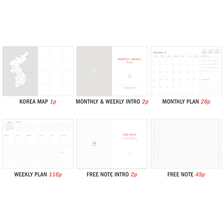 Planner section - ICONIC 2020 Brilliant dated weekly planner scheduler