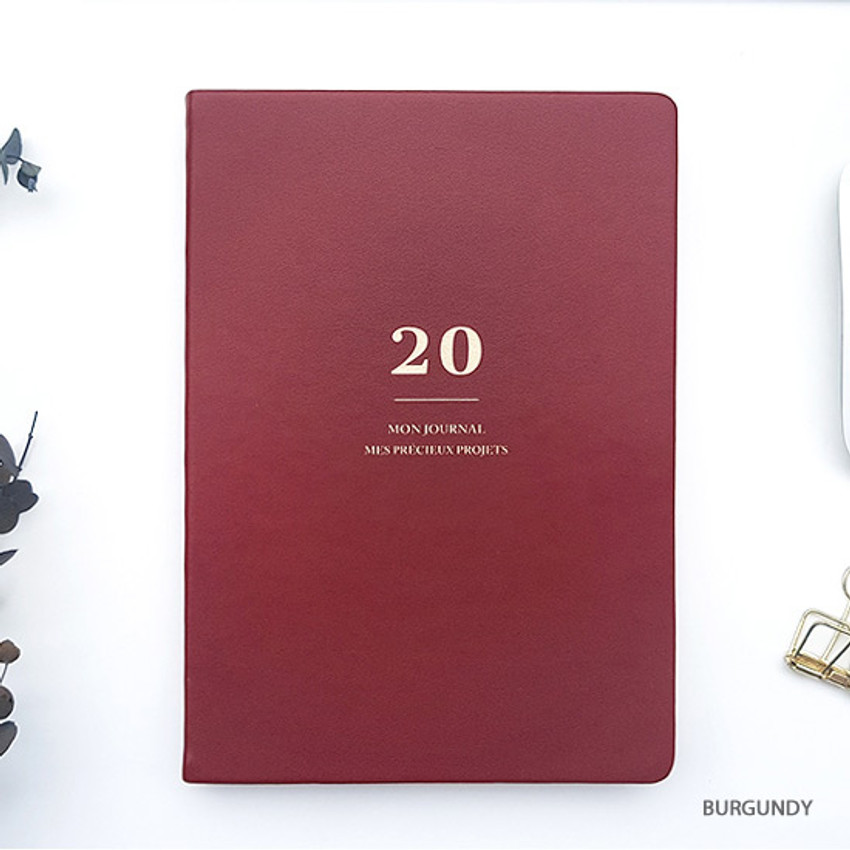 Burgundy - O-CHECK 2020 Mon journal A5 dated weekly agenda planner