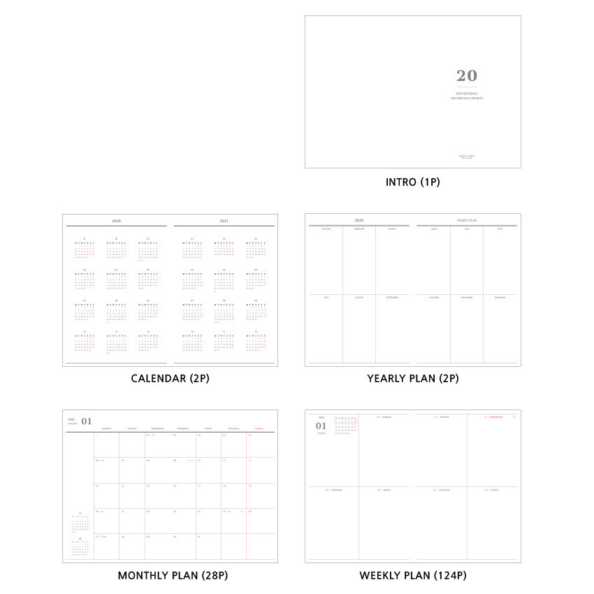 Planner section - O-CHECK 2020 Mon journal A5 dated weekly agenda planner