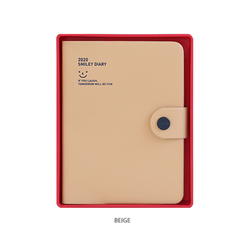 Beige - Monopoly 2020 Smiley dated daily diary with tray