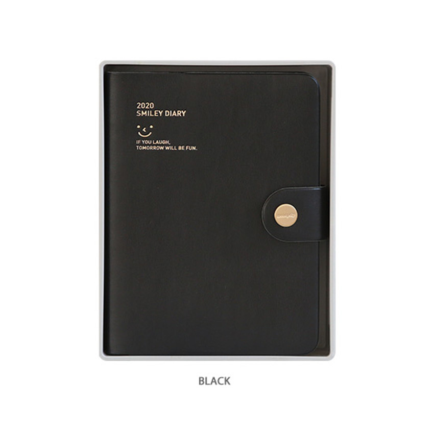Black - Monopoly 2020 Smiley dated daily diary with tray
