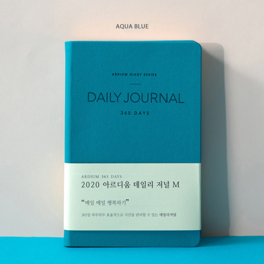 Aqua blue - 2020 365 days medium dated daily journal diary