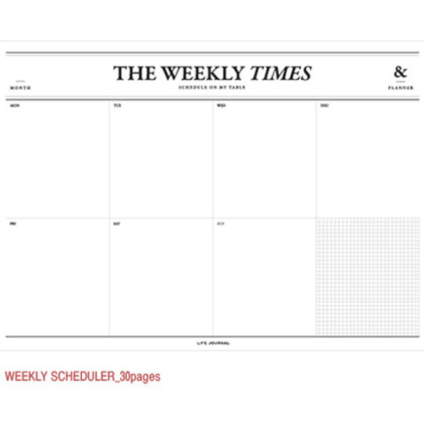 Weekly scheduler 30 pages