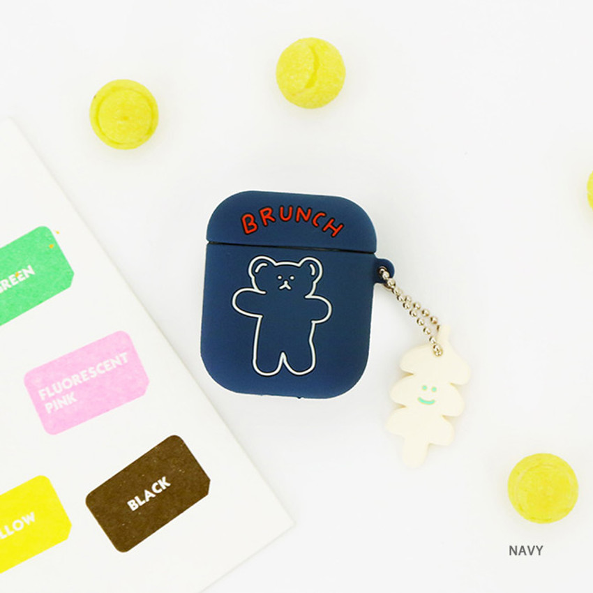 Navy - Bear basic AirPods case silicone cover