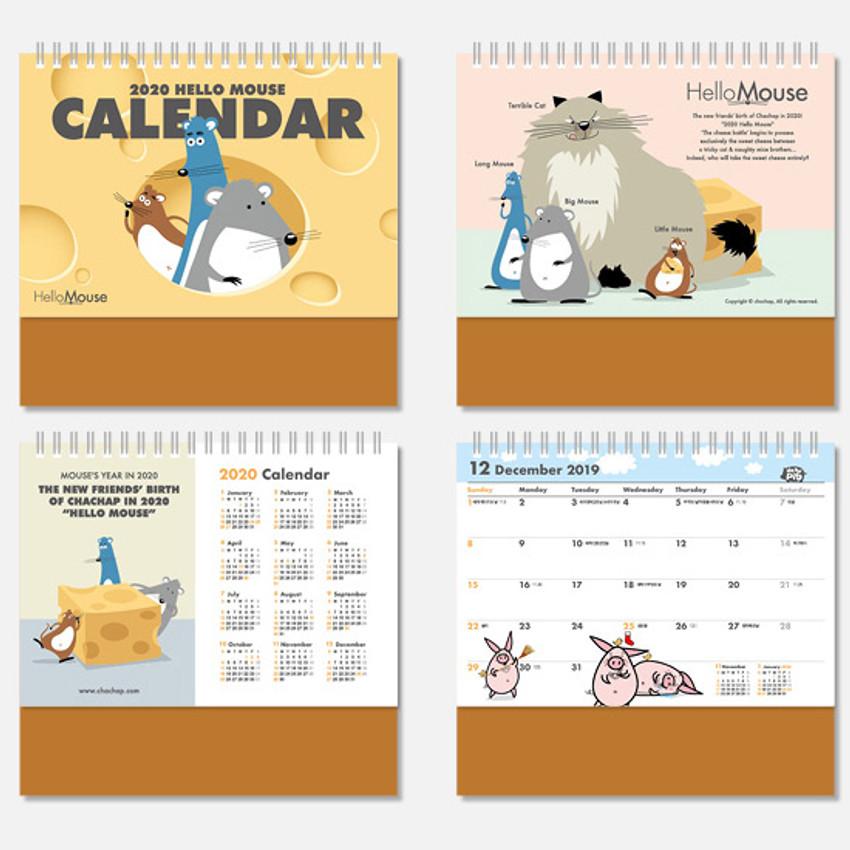 Calendar pages - Chachap 2020 Hello mouse monthly desk calendar