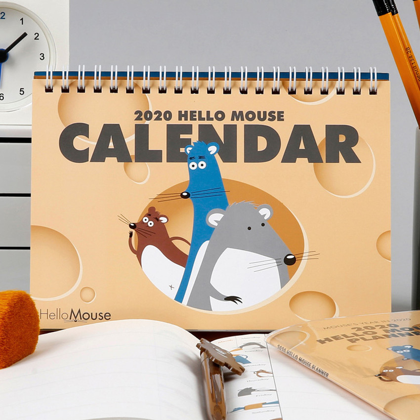 Chachap 2020 Hello mouse monthly desk calendar